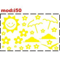 Adesivo I50 Sol Guarda Chuva Florzinha Passaros Nuvens