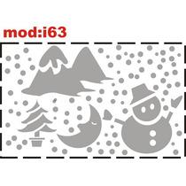 Adesivo I63 Neve Boneco De Neve Lua Pinheiro Montanha Natal
