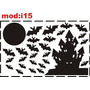 Adesivo I15 Lua Cheia Morcegos Castelo Castelinos