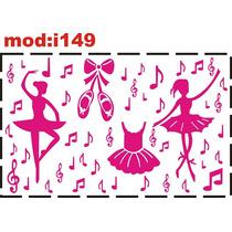 Adesivo I149 Bailarinas Notas Musicais Sapatilhas Vestido