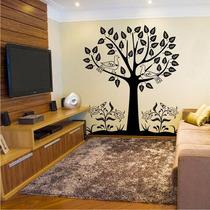 Adesivo Decorativo Árvore Com Folhas E Pássaros - Médio