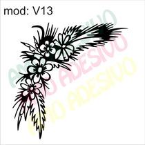 Adesivo V13 Arranjo Flores Flor Folha Planta Decorativo