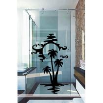 Adesivo Decorativo Parede Box Banheiro Floral Lua Mar Sombra