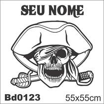 Adesivo Bd0123 Caveira Pirata Capitão Nome Decoração Parede
