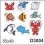 Adesivo D3004 Animais Marinhos Siri Tubarao Baleia Tartaruga