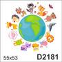 D2181 Adesivo Decorativo Planeta Terra Animais Baleia Coruja