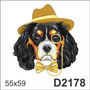 D2178 Adesivo Decorativo Cachorro Chapéu Gravata Óculos