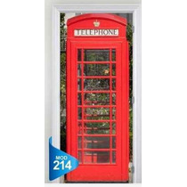 Adesivo 123 Porta Decorativa Cabine Telefone Londres 214