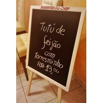 Cavalete+lousa Quadro Negro- Sugestão Do Chef+ Apagador+ Gís