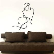 Adesivo Decorativo De Parede Abstrato Silhueta Mulher