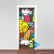 Adesivo 123 Porta Romero Britto Mod 612 Vetor