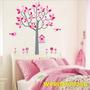Casa Adesivo Coruja Quarto Menina Pink Rosa Flores Wpt25a