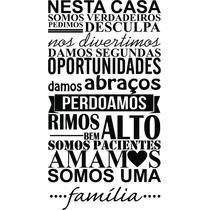 Adesivo De Parede Frase Nesta Casa Somos Uma Família Amamos