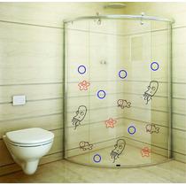 Adesivo De Parede Banheiro Box Kit Peixe Estrela Mar Bolha