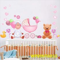 Adesivos Ursinho Carrinho Bebê Quarto Menina Flores Wpt53