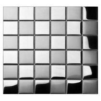 Pastilha De Inox Xadrez 5x5cm Escovado/espelhado 30x30cm