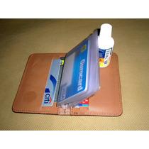 Porta Cartões De Banco / Crédito Em Couro - Cor Tabaco