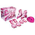 Patins Roller Infantil 3 Rodas 30 A 33 C/ Kit Proteção Rosa