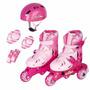 Patins Roller Ajustável Rosa + Kit De Proteção - Nº 30 Ao 33