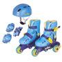 Patins Roller Ajustável + Kit De Proteção - Nº 26 Ao 29
