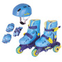 Patins Roller Infantil 3 Rodas N°30 A 33 C/kit Proteção Azul