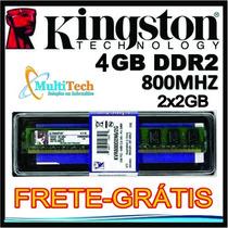Memória Ram Kingston Ddr2 4gb 2x2gb 800mhz Para Amd Amd
