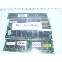 Lote De 4 Memorias Dim Para Computador Pc 64megas Cada