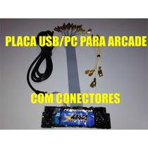 Placa Usb Pc C/ Conectores Para Controle Arcade Turbo