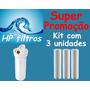 Kit 3 Refis Polipropileno Ranhurado Filtro Água Amanco 9.3/4