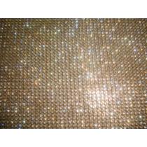 Manta De Strass Dourada 45cm X 1,20 Frete Grátis