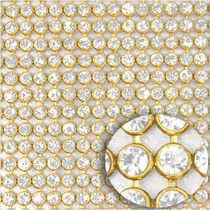 2 Mantas De Strass Cristal Dourada E Prata 11 Cm X 1,20 Mts