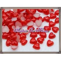 300 Chatom/chatons Meia Perola Coração Vermelho 6mm
