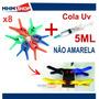 Cola Uv + 8 Grampos Para Fixação De Tela Vidro Celular !