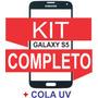 Tela Vidro Galaxy S5 G900 I9600 Preto+ Kit Remoção+ Cola Uv