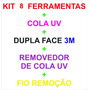 Kit 4 Completo Fixação Vidro Universal Smartphones C/cola Uv