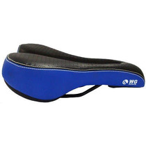 Banco Selim Mtb Wg Sports Vazado Azul Bike Bicicleta