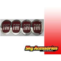 Emblema De Alumínio Da Fiat Vermelho 65mm