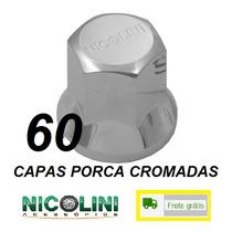 Kit 60 Capas Porca Cromadas Nicolini Roda Caminhão