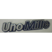 Emblema Uno Mille(cromado Fundo Azul)