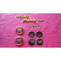 Kit Emblema Fiat Palio Fire Flex Calota Grade Mala Vermelho