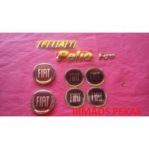 Kit Emblema Fiat Palio Fire Calota Grade Mala Chave Vermelho