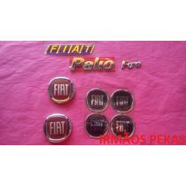 Kit Emblemas Fiat Palio Fire Calotas Grade Mala Vermelho