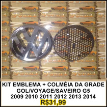 Kit Emblema + Colmeia Da Grade Gol/ Voyage /saveiro 09 A 14