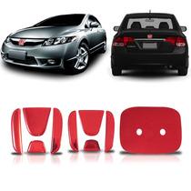 Aplique Vermelho Emblema New Civic Traseiro E Frontal