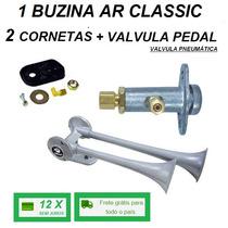 Buzina Ar Para Caminhão Classic 2 Cornetas + Valvula Pedal