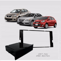 Moldura Dvd 1 E 2din New March/ Sentra/ Versa 2014... Preta