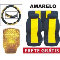 Kit Amarelo Tapetes Capas De Banco E Volante Frete Grátis