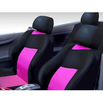 Capa De Banco Automotivo Preta Com Rosa Impermeável Nylon