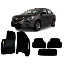 Tapete Carpete Preto Chevrolet Cobalt Com Logo - 5 Peças
