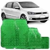 Jogo De Tapetes Automotivos Carro Cromados Verde 5 Peças